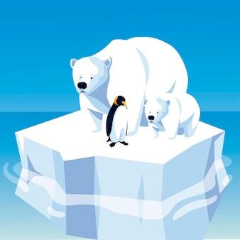 氷山の北極に浮かぶホッキョクグマとペンギン