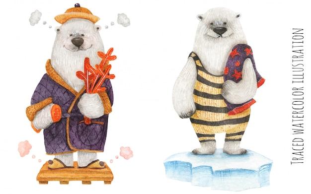 Polar bears in the arctic spa