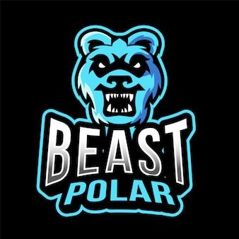 ホッキョクグマ獣eスポーツのロゴのテンプレート
