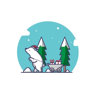 북극곰이 크리스마스 선물을 가져옵니다.