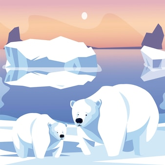 Polar bears family in snow iceberg north pole scene  illustration