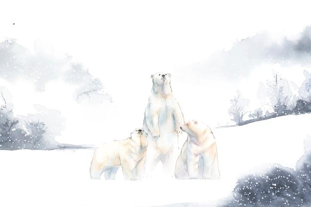 Белые медведи в снежном акварельном векторе
