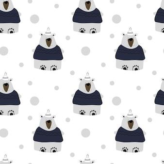 白い背景のシームレスなパターンのホッキョクグマ