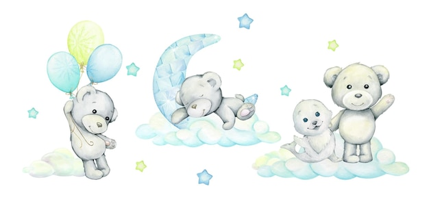 Polar bears, a seal, clouds, the moon, balloons, a set of watercolor animals, in a cartoon style.