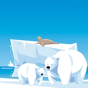 Polar bears and seal iceberg north pole landscape  illustration
