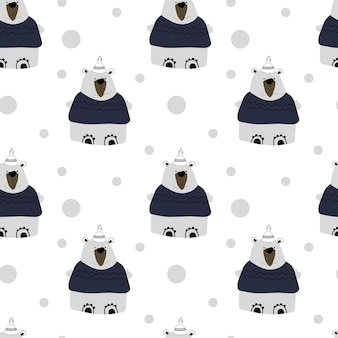 Polar bears on white background seamless pattern
