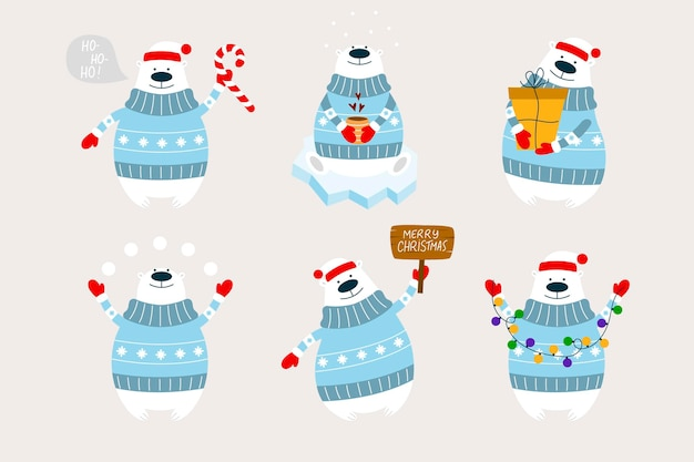 Polar bears with garland, gift, snowballs, wooden sign, candle cane, cup of coffee. christmas with polar bears.