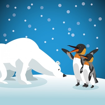 Polar habitat related icons image
