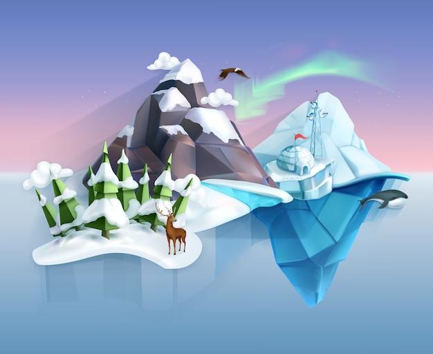 Полярная природа, зимняя страна чудес, пейзаж в стиле низкой поли