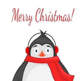스카프와 헤드폰에 북극 펭귄. 새 해와 크리스마스 엽서.