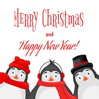 Polar penguin winter earphones, cap, hat and scarf. postcard for the new year and christmas.