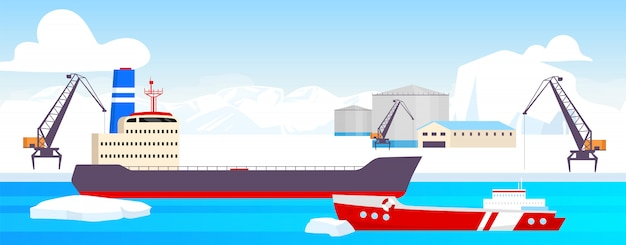 Polar station  color  illustration. arctic port  cartoon landscape with glaciers on background. north pole resources mining facility. industrial site with tankers, freight ships
