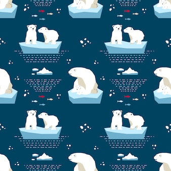 Polar teddy-bear seamless pattern
