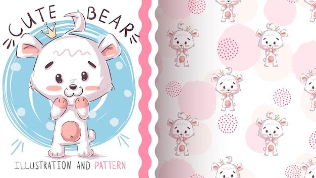 Polar white bear seamless pattern and illustration
