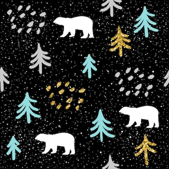 Polar white bear and spruce abstract seamless pattern background. bear pattern for christmas card, new year invitation, album, scrapbook, holiday wrapping paper, textile fabric, wallpaper.