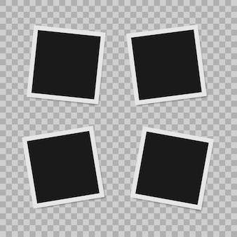 Polaroid border empty realistic photo frame