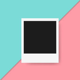 Polaroid frame in colorful background