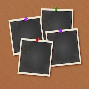 Polaroid frames pinned on wall
