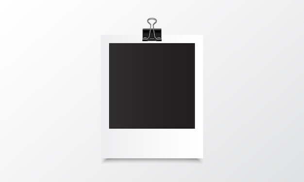 Polaroid photo realistic mockup with binder clip