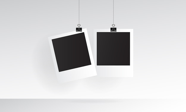 Polaroid photo realistic mockup with hanging