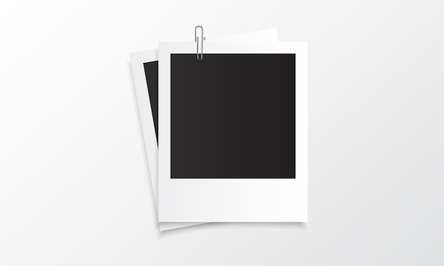 Polaroid photo realistic mockup with paper clip
