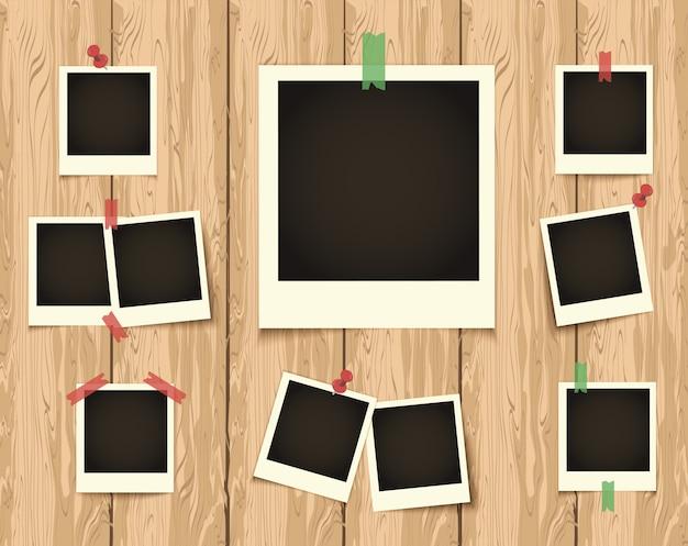 Polaroid черный пустой фото набор с белыми рамками на деревянном фоне