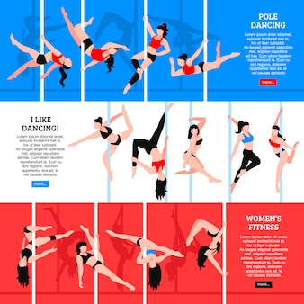 Pole dance horizontal banners