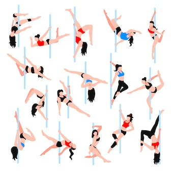 Pole dance isometric icons set