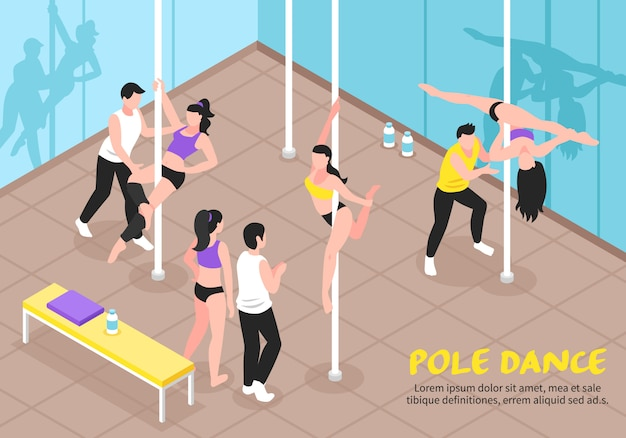 Pole dance training illustrazione isometrica