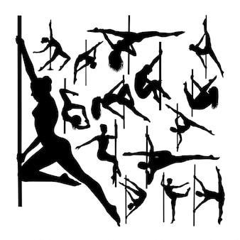 Pole dancer gesture silhouettes.