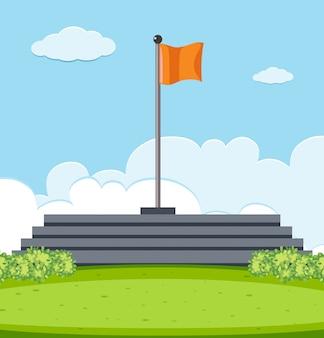 Pole with flag scene