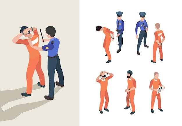 경찰과 죄수. 아이소메트릭 연방 감옥 문자 낮은 정의 사람 수감자 벡터 사람. 경찰과 범죄자, 감옥과 정의 3d 일러스트