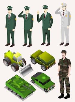 Полиция, армия, солдат, с зеленым транспортным средством