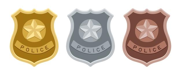 警察のバッジ。金、銀、青銅の盾。