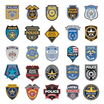 경찰 배지. 장교 보안 연방 요원 표지판 및 기호 경찰 보호 로고