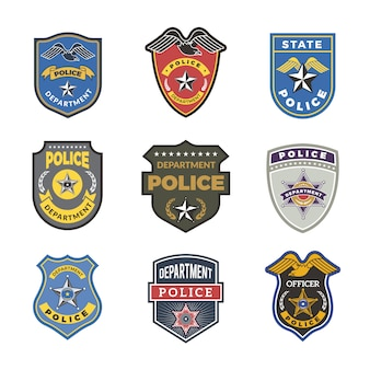 Полицейские значки. охранные знаки и символы сотрудника госуправления правоохранительных органов логотипы