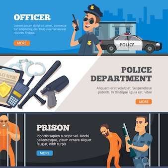Police banners. urban security police officer standing in uniform prison and overseer with weapon design collection