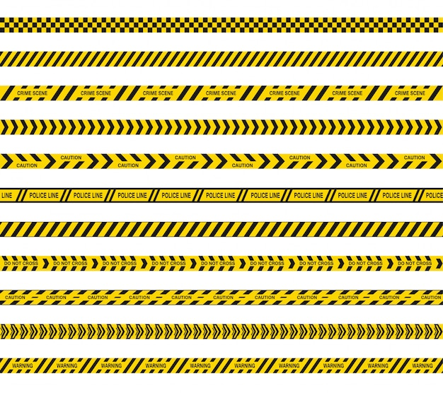 Police or barricade tapes do not cross. black and yellow stripes of danger. seamless barrier lines.