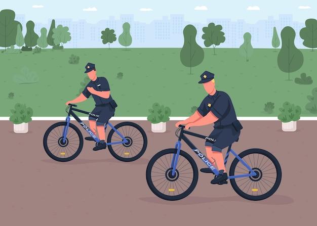 경찰 자전거 순찰 평면 컬러 일러스트