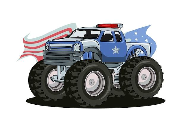 警察の大型トラック