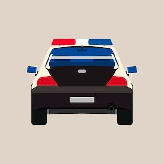 Police car back view illustration