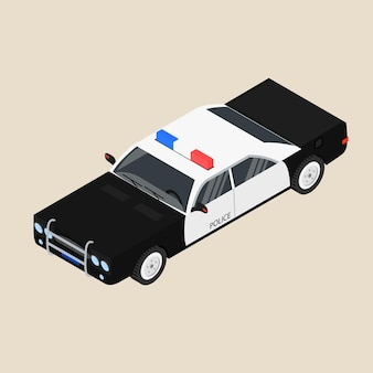 Полицейская машина. черно-белый седан. патрульная машина. векторная иллюстрация.