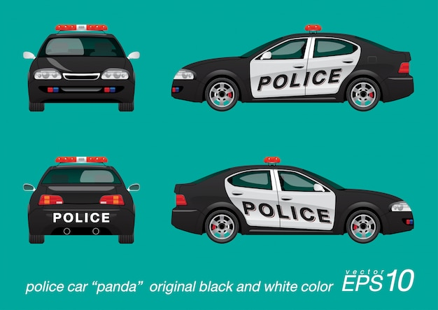 Police car black and white color