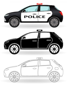 Police car colored, black silhouette, outline isolated. patrol vehicle in three different styles.