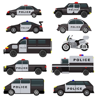 Police car emergency policy vehicle truck and suv automobile patrol and policemans motorcycle illustration set of police-officers transport and police-service auto isolated on white background