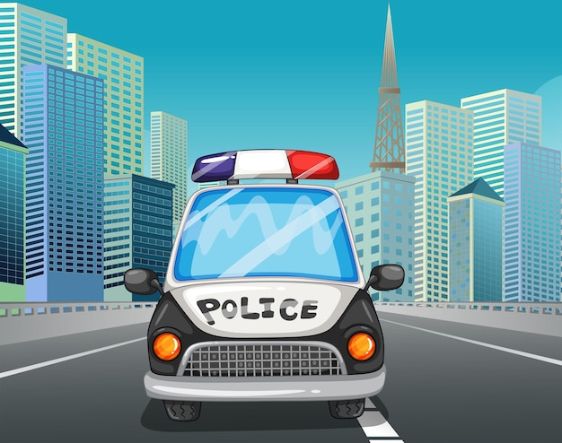Auto della polizia in autostrada