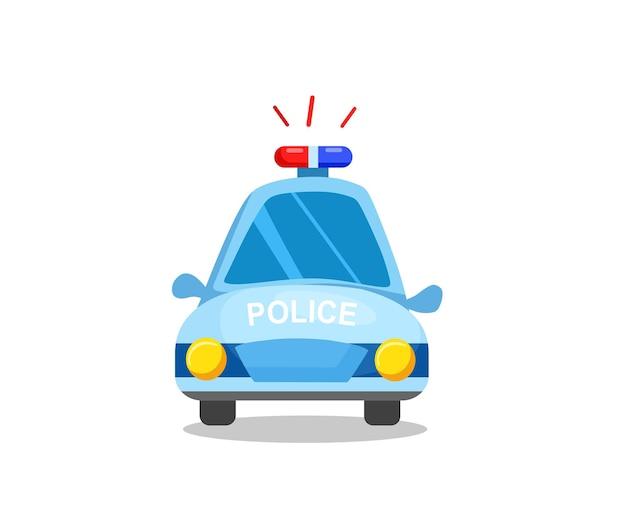 Полицейская машина, вид спереди. полицейский транспорт. векторные иллюстрации в мультяшном стиле.