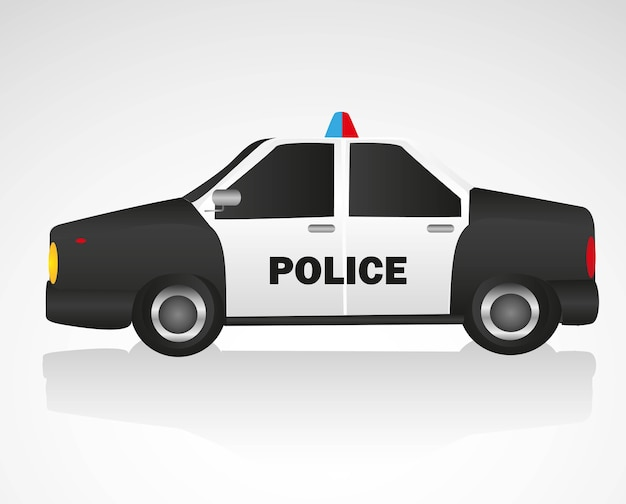 Police car isolated on white background vector illustration