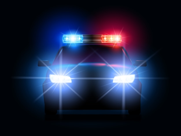 Police car lights. security sheriff cars headlights and flashers, emergency siren light and secure transport illustration