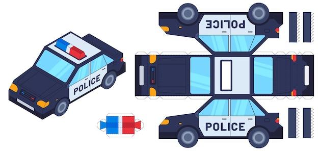 Игрушка для вырезания из бумаги полицейской машины. детские поделки, создавайте игрушки ножницами и клеем. бумажный полицейский автомобиль, векторный шаблон рабочего листа 3d-модели. машинка для рисования на клейкой основе, набор для нанесения на бумагу